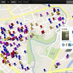 Mapa SightsMap zobrazující body zájmu z různých geosociálních sítí v centru Olomouce.