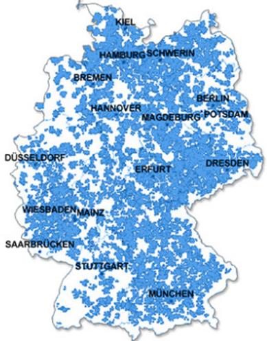 Obrázek 4: Pokrytí LTE - Germany, zdroj (Phone-guide-germany)