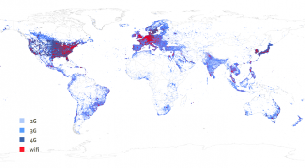 Mapa pokrytí světa mobilním signálem