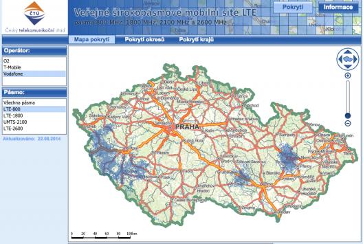 Mapa pokrytí LTE - ČTÚ