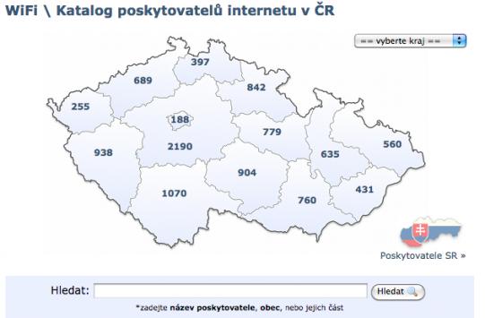 Databáze poskytovatelů internetu