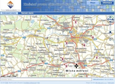 Vysílače LTE v pásmu 800 MHz v okolí Pardubic a Chrudimi, zdroj (Český telekomunikační úřad)