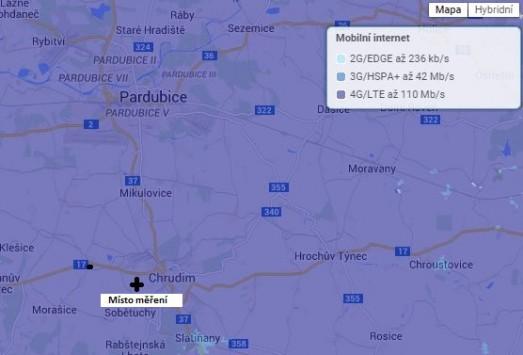 Obr. 2. Pokrytí okolí města Pardubice a Chrudim signálem LTE operátora O2, zdroj (O2)