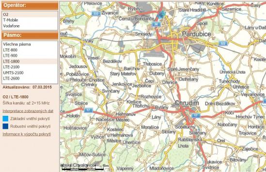 Obr. 4. Pokrytí okolí města Pardubice a Chrudim signálem LTE operátora O2  v pásmu 1 800 MHz, zdroj (Český telekomunikační úřad)